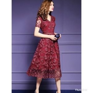 Metisu Floral Embroidered Swing Midi Red Dress